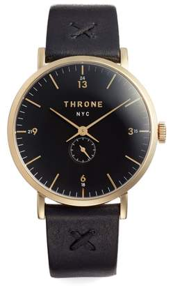 THRONE 1.0 Leather Strap Watch, 40mm