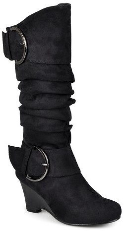 Journee Collection Women's Journee Collection Buckle Slouch Wedge Knee-High Boots