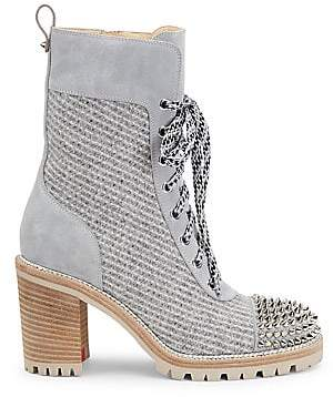 Christian Louboutin Women's TS Croc Studded Wool & Suede Hiking Boots