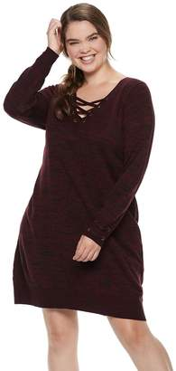 Iz Byer Juniors' Plus Size Lace-Up Sweaterdress