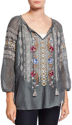 Johnny Was Angelique Cotton/Silk Embroidered 3/4-Sleeve Tassel Top