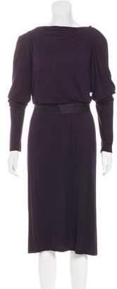 Lanvin Silk-Trimmed Midi Dress