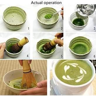 JuJu Smiling Matcha Whisk Set - Brush + Ceramic Bowl + Scoop / Japanese Green Tea Bamboo Preparing Tool 3 Piece Set -D New