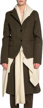 Sacai Scarf-Layered Melton Wool Jacket
