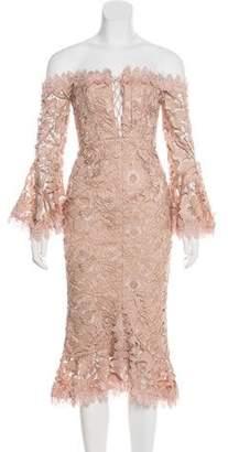 Nicholas Off-The-Shoulder Midi Dress Pink Off-The-Shoulder Midi Dress