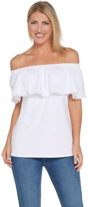 Denim & Co. Stretch Jersey Ruffle Top with Dot Lace Trim