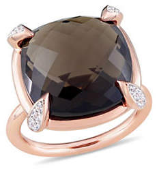 HBC CONCERTO Smokey Quartz, White Sapphire and 14K Rose Gold Cocktail Ring