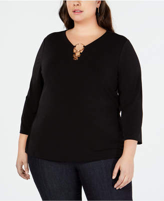 INC International Concepts I.n.c. Plus Size O-Ring Knit Top