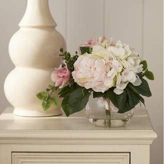 Ophelia & Co. Myrte Faux Mixed Rose & Hydrangea in Glass Vase