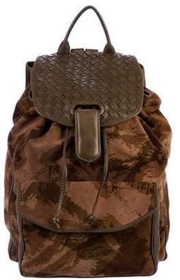 Bottega Veneta Camouflage Suede Backpack