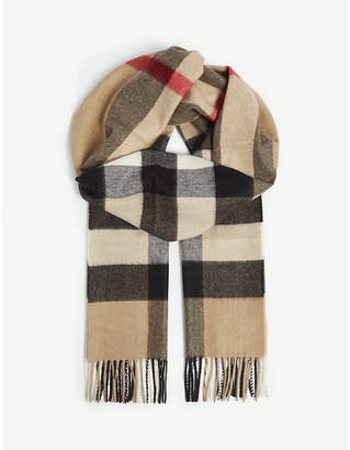 Burberry Classic check large cashmere scarf