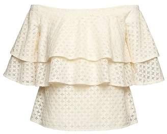 Banana Republic Lace Off-the-Shoulder Ruffle T-Shirt
