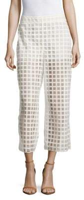 Akris Caro Grid Embroidered Cropped Pants