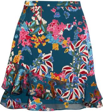 Saloni - Cece Floral-print Fil Coupé Chiffon Mini Skirt - Blue $350 thestylecure.com