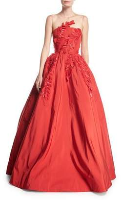 Oscar de la Renta Sleeveless Illusion-Neck Evening Ball Gown w/ Floral Appliques