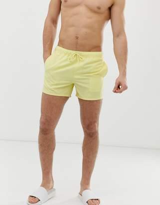 dced1e25bad2c Asos Design DESIGN swim shorts in pale yellow short length
