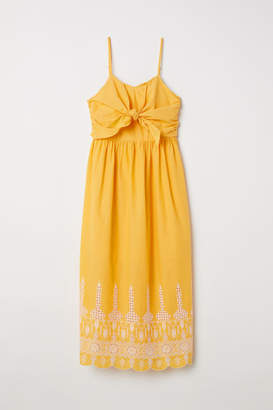 H&M Cotton Dress with Tie-detail - Yellow