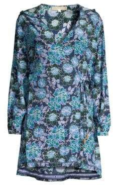 Farah Paloma Blue Hooded Floral Wrap Dress