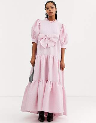 Sister Jane Dream tiered volume maxi dress with bow front in heart jacquard