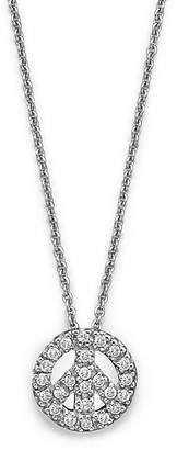 """Roberto Coin 18K White Gold and Diamond Peace Sign Necklace, 16"""""""