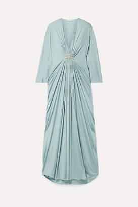 Reem Acra Draped Embellished Silk-jersey Maxi Dress - Mint
