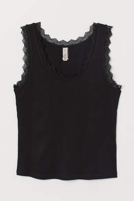 H&M Ribbed Tank Top with Lace - Black
