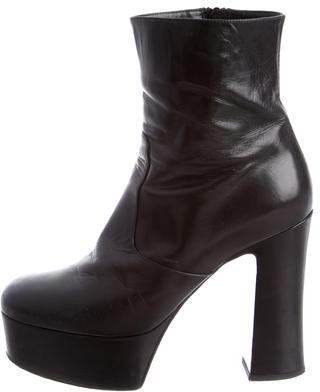 Saint LaurentSaint Laurent Leather Platform Ankle Boots