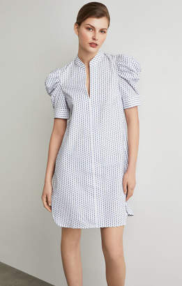 BCBGMAXAZRIA Draped Shoulder Ikat Shirt Dress