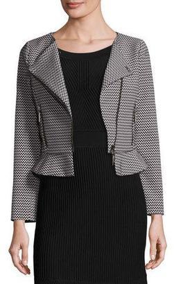 Armani Collezioni Zigzag Asymmetric-Zip Peplum Jacket, White/Black $695 thestylecure.com