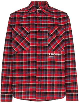 Off-White Check Shirt printed check cotton flannel shirt