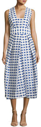 Milly Elisa Sleeveless Gingham Fil Coupe Midi Dress, Cobalt