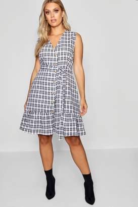 boohoo Plus Check Wrap Dress