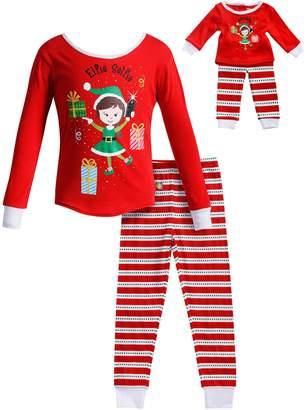 "Dollie & Me Girls 4-14 Elfie Selfie"" Elf Striped Top & Bottoms Pajama Set"
