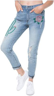 Juicy Couture Embroidered Cactus Denim Girlfriend Jean