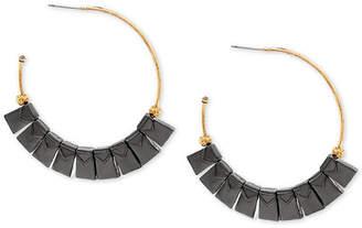 Steve Madden Two-Tone Square Beaded Open Hoop Earrings