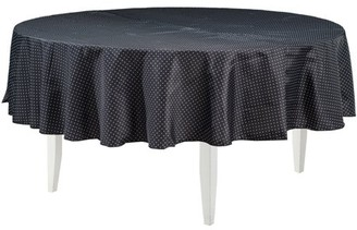 """Generic 90"""" Polyester Black Round Tablecover with White Dots"""