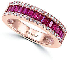Effy 14K Rose Gold Ruby Ring with 0.22 TCW Diamonds