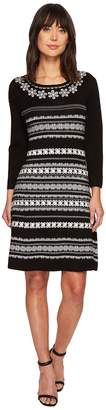 CeCe Long Sleeve Jacquard Sweater Dress Women's Dress