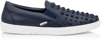 Jimmy Choo GROVE Navy Sport Calf Leather Slip on Trainers with Mixed Stars