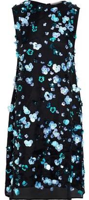 Mansur Gavriel Floral-appliqued Silk-organza Mini Dress