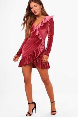 boohoo Petite Velvet Ruffle Hem Wrap Dress