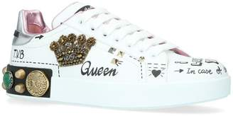 Dolce & Gabbana Leather Portofino Angel Sneakers