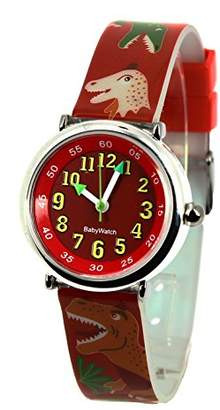 Baby Watch Coffret Bon-Heure Dinosaure Boy's Analogue Watch with Red Dial Analogue Display - 3700230606184