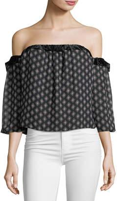 83f2f56e04901 ... Neiman Marcus Misa Los Angeles Vallez Off-the-Shoulder Printed Chiffon  Top