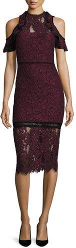 AlexisAlexis Evie Cold-Shoulder Lace Sheath Dress