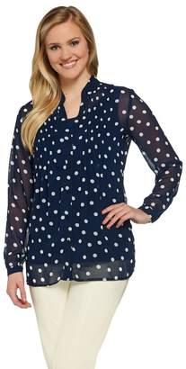 Susan Graver Polka Dot Sheer Chiffon Shirt Set with Pleat Detail