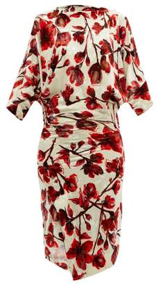Vivienne Westwood Infinity Floral Print Draped Velvet Dress - Womens - Red Print
