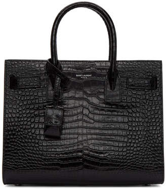 Saint Laurent Black Croc Baby Sac De Jour Tote