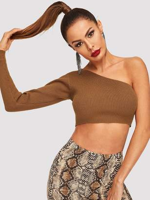 5eab55dc0ad56f Shein One Shoulder Crop Fitted Sweater