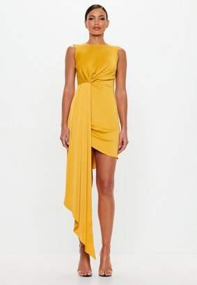 Missguided Yellow Drape One Sided Mini Dress